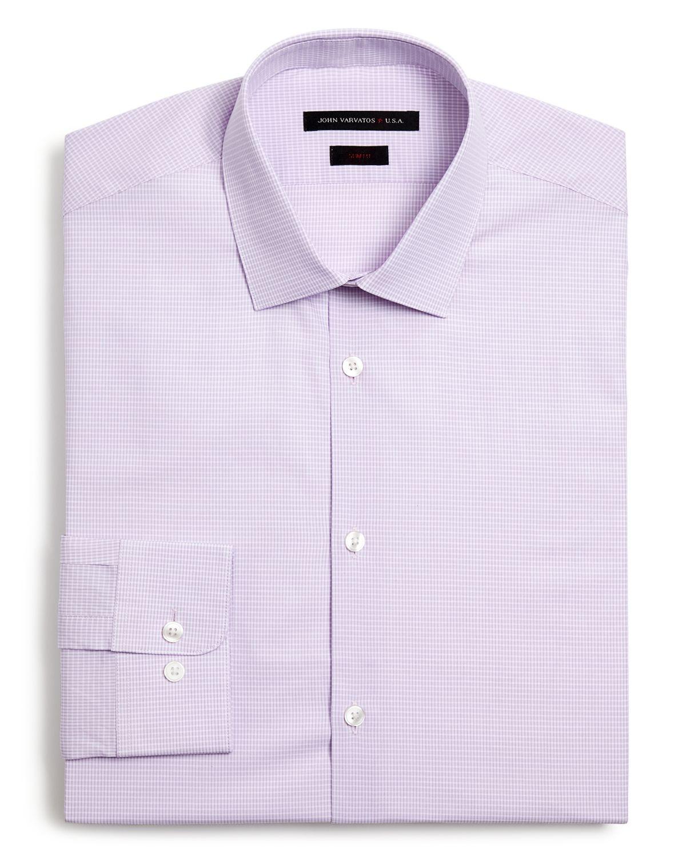 Lyst john varvatos pink check dress shirt slim fit in for Pink checkered dress shirt