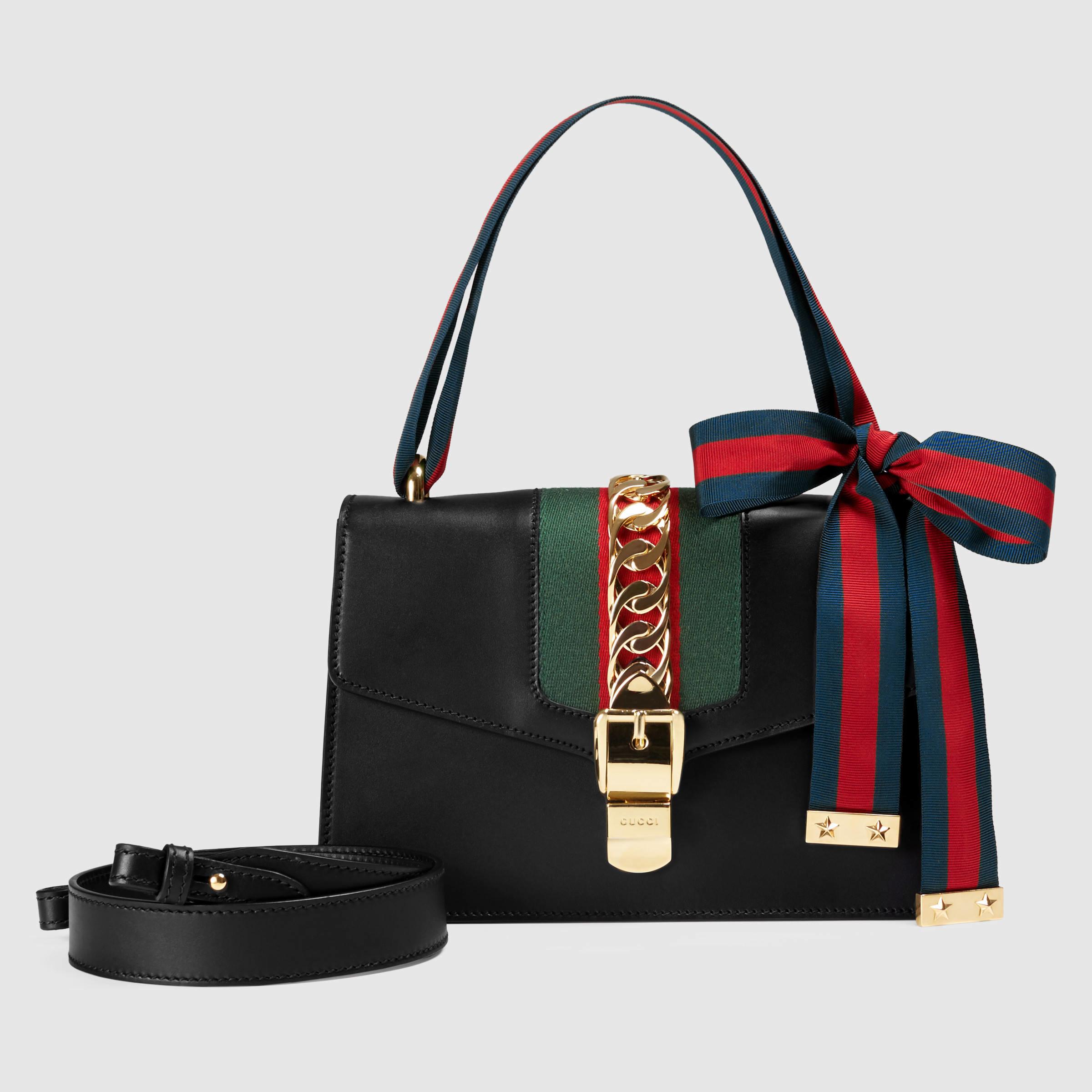 gucci sylvie leather shoulder bag in black lyst