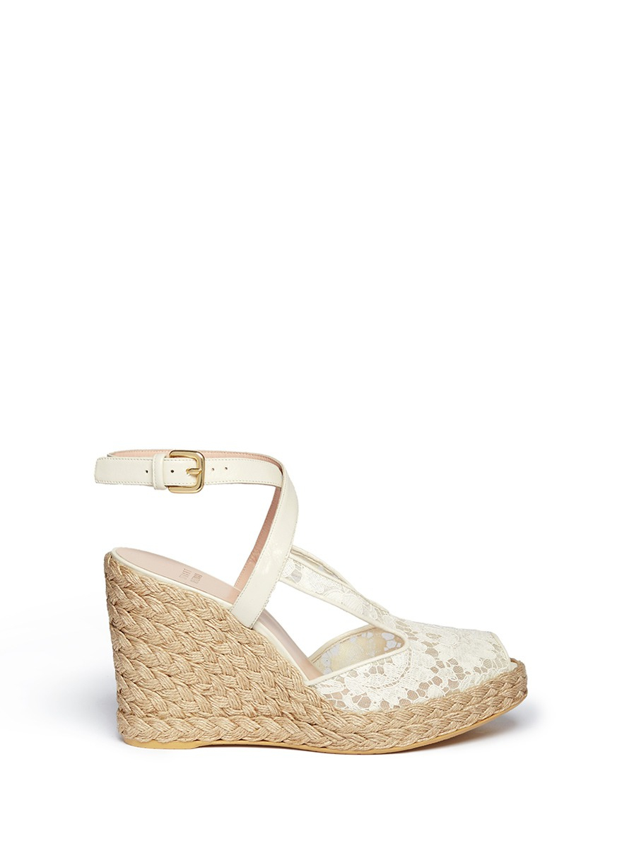 Lyst - Stuart Weitzman Touring Guipure Lace Espadrille Wedge Sandals ...