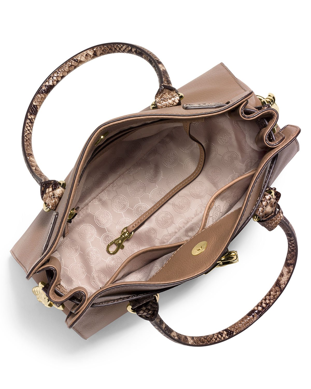 82aab2cacb62 MICHAEL Michael Kors Hamilton Satchel Bag W/snake-print Trim in ...