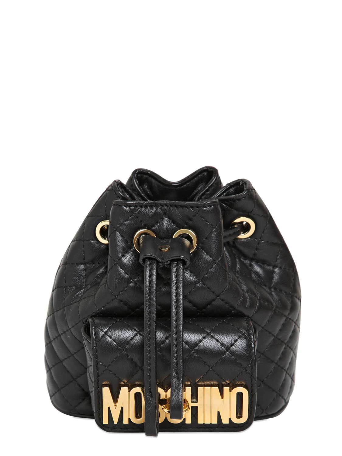 Moschino Mini Quilted Backpack in Black | Lyst : quilted leather rucksack - Adamdwight.com