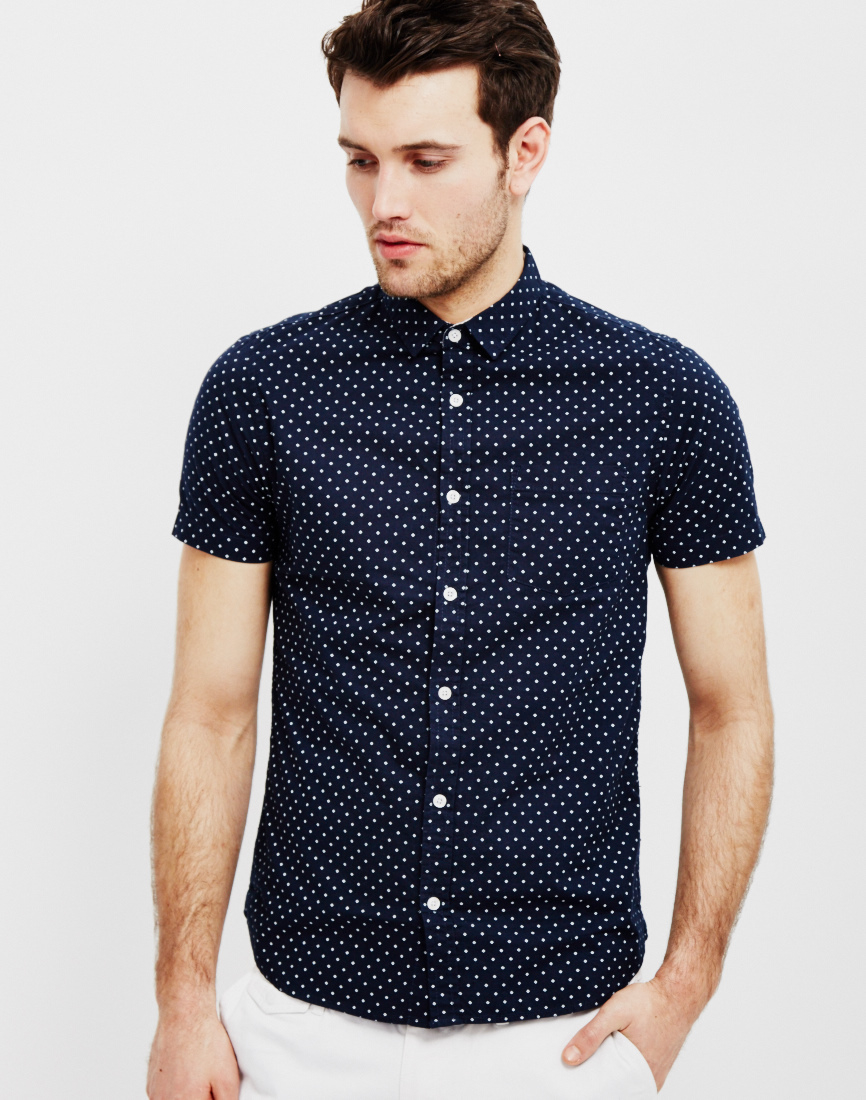 the idle man all over micro print short sleeve shirt navy