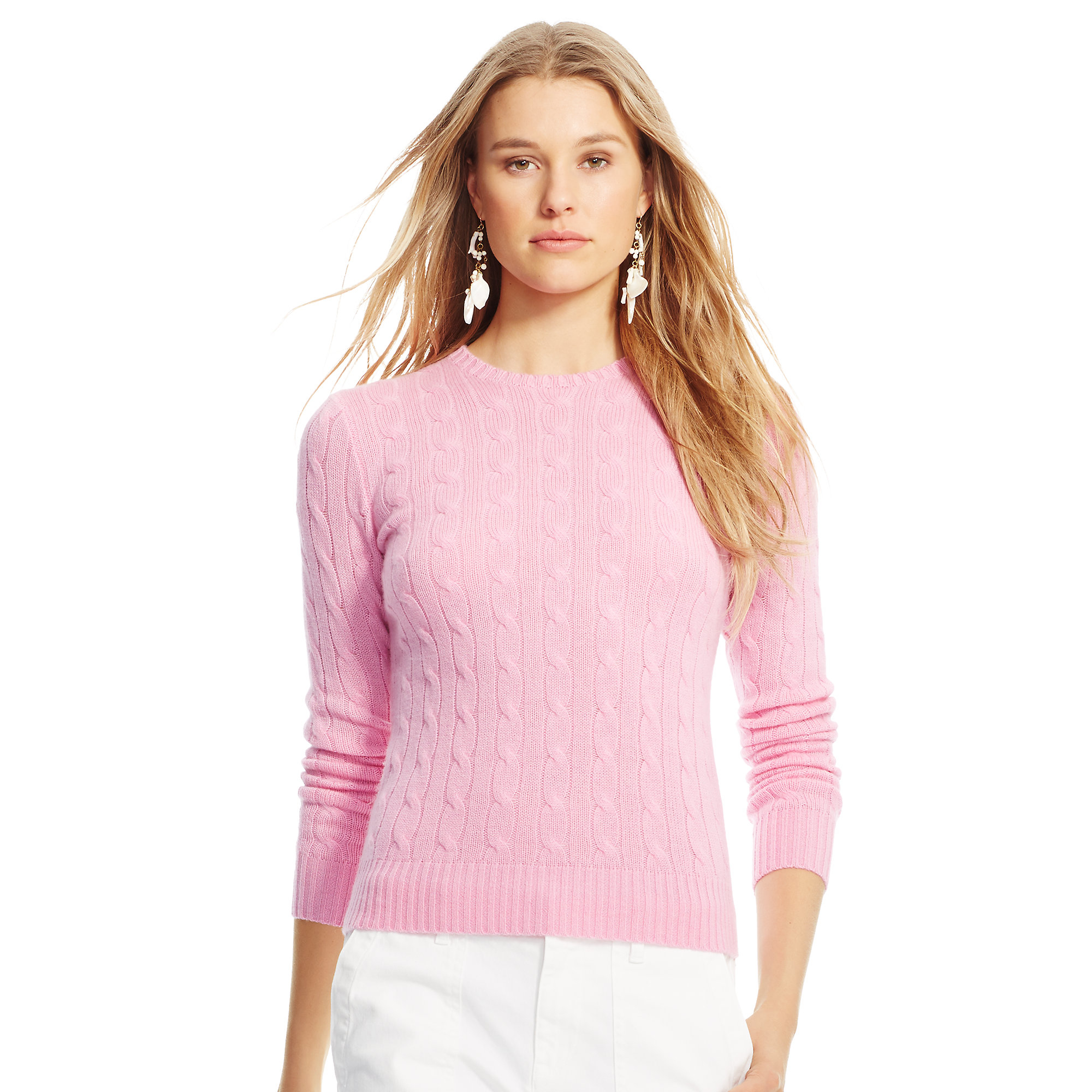 Lyst Polo Ralph Lauren Slim Cable Cashmere Sweater In Pink