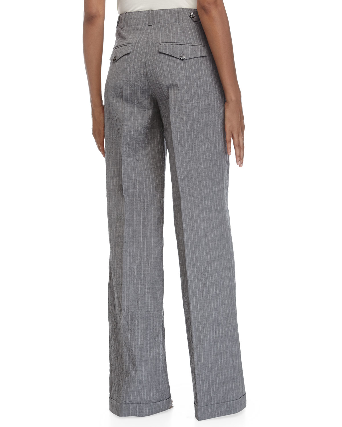 Michael kors Cuffed Wide-Leg Pants in Gray | Lyst
