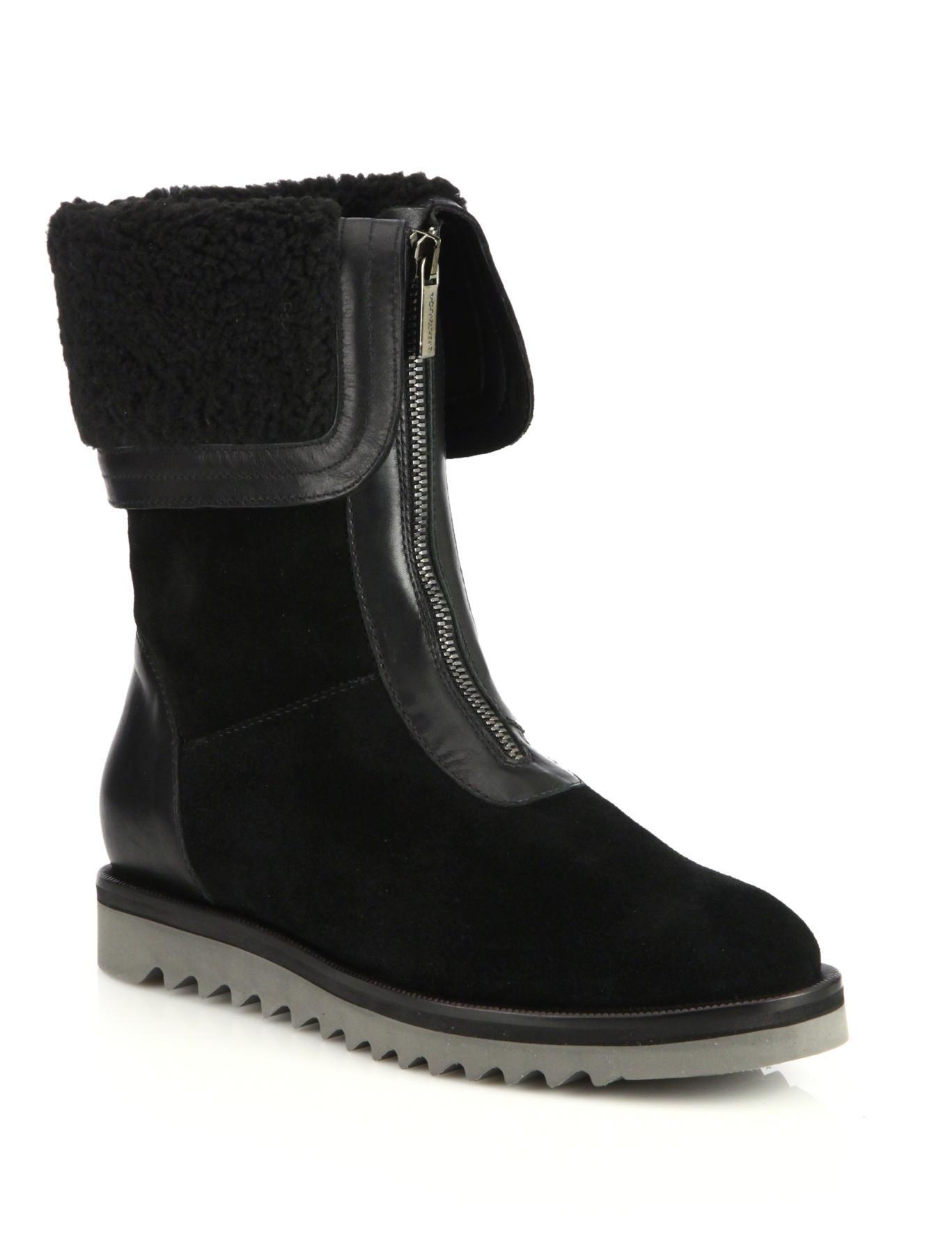 aquatalia suede faux fur cuff boots in black lyst