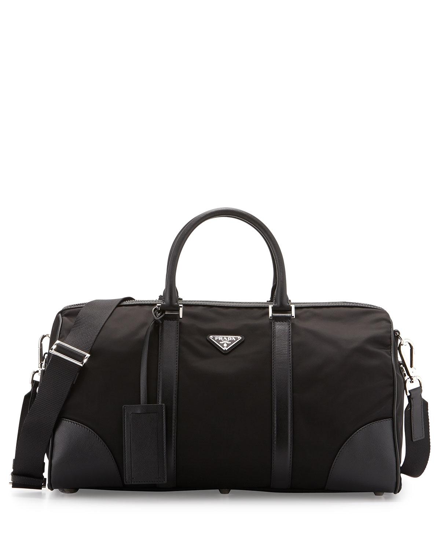 prada handbag sale - Prada Leather-Trimmed Duffel in Black | Lyst