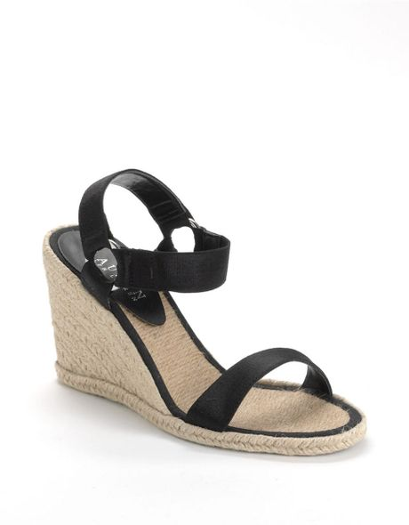 lauren by ralph lauren indigo banded espadrille wedge sandals in black lyst. Black Bedroom Furniture Sets. Home Design Ideas