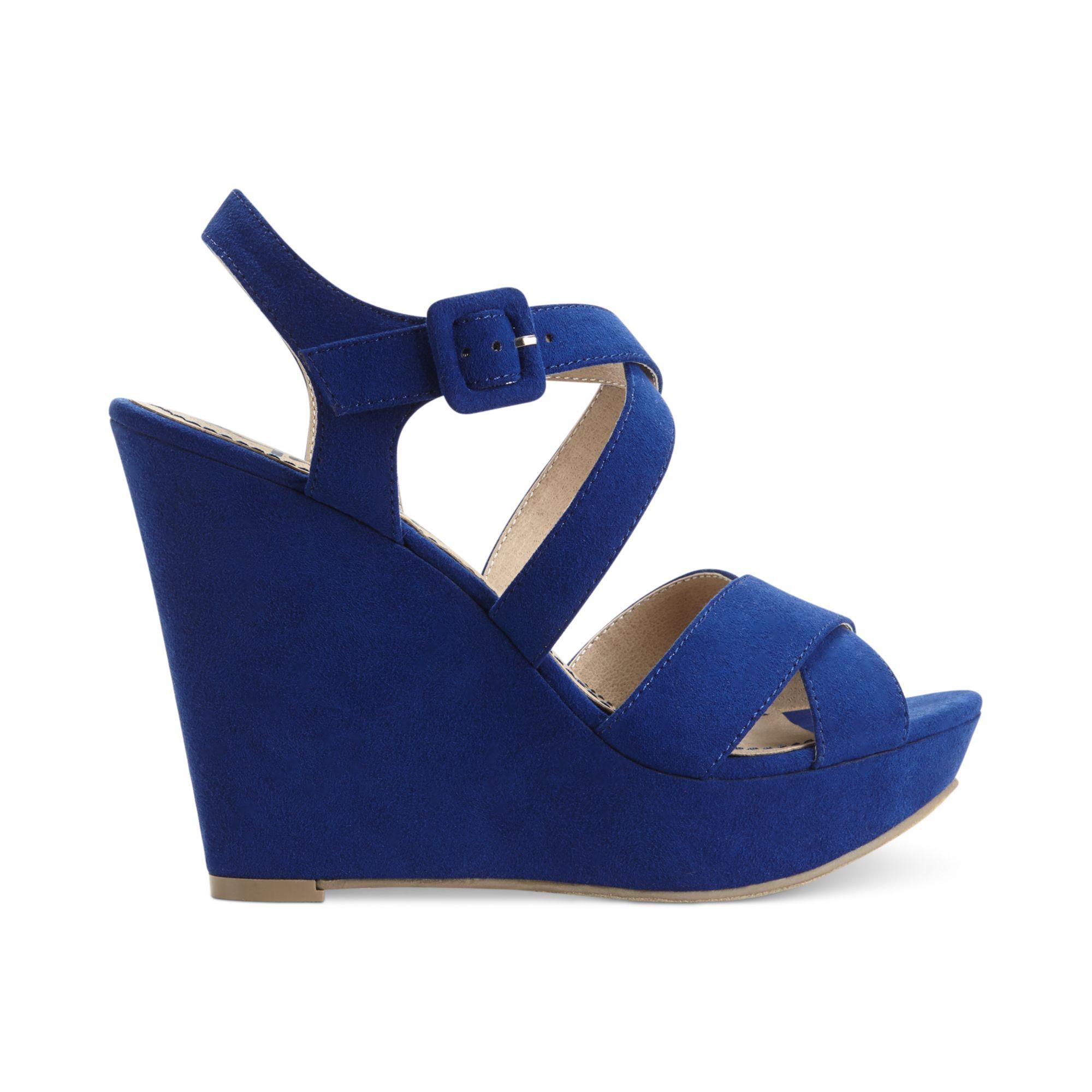 american rag rachey platform wedge sandals in blue cobalt