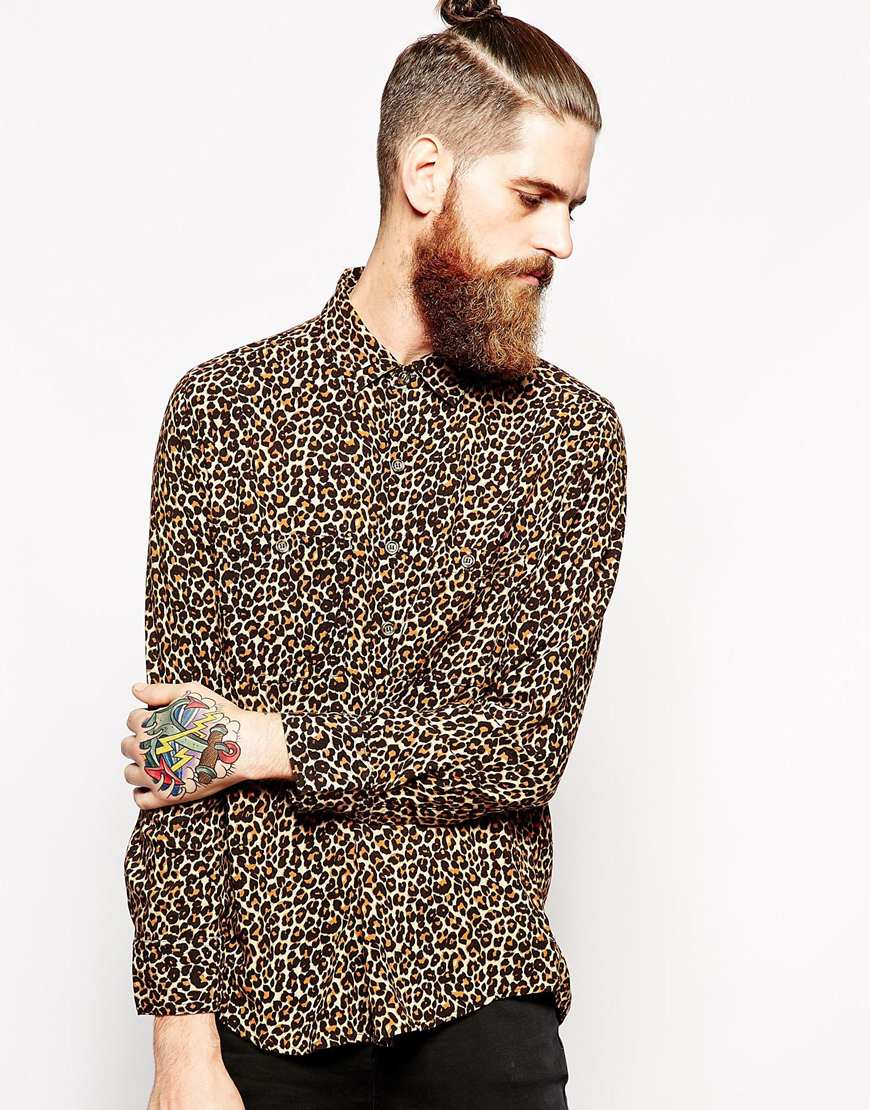 American Apparel Oversized Leopard Print Rayon Shirt In