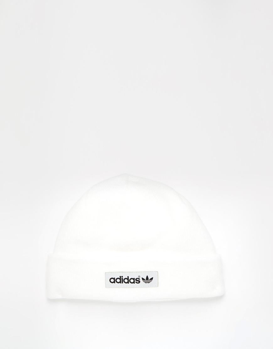 Lyst Adidas Originals Logo Beanie In White For Men