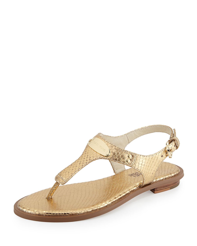 be3ca759449e MICHAEL Michael Kors Logo Plate Thong Sandal in Metallic - Lyst
