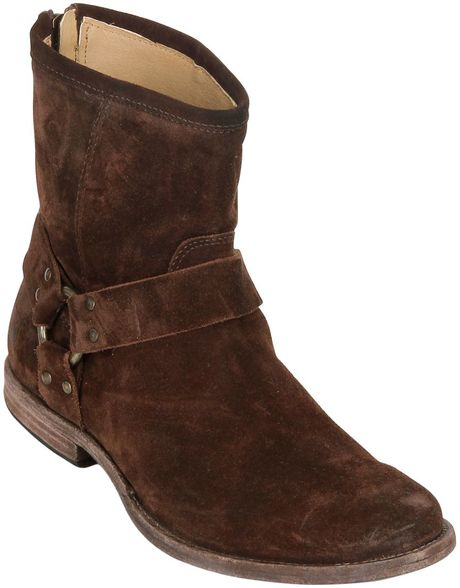 frye 20mm harness suede ankle boots in brown lyst
