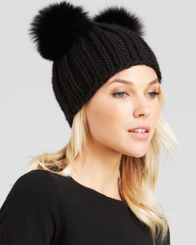 Lyst - Eugenia Kim Mimi Knit Cap With Fox Fur Pom-Poms in Black 966528065ac