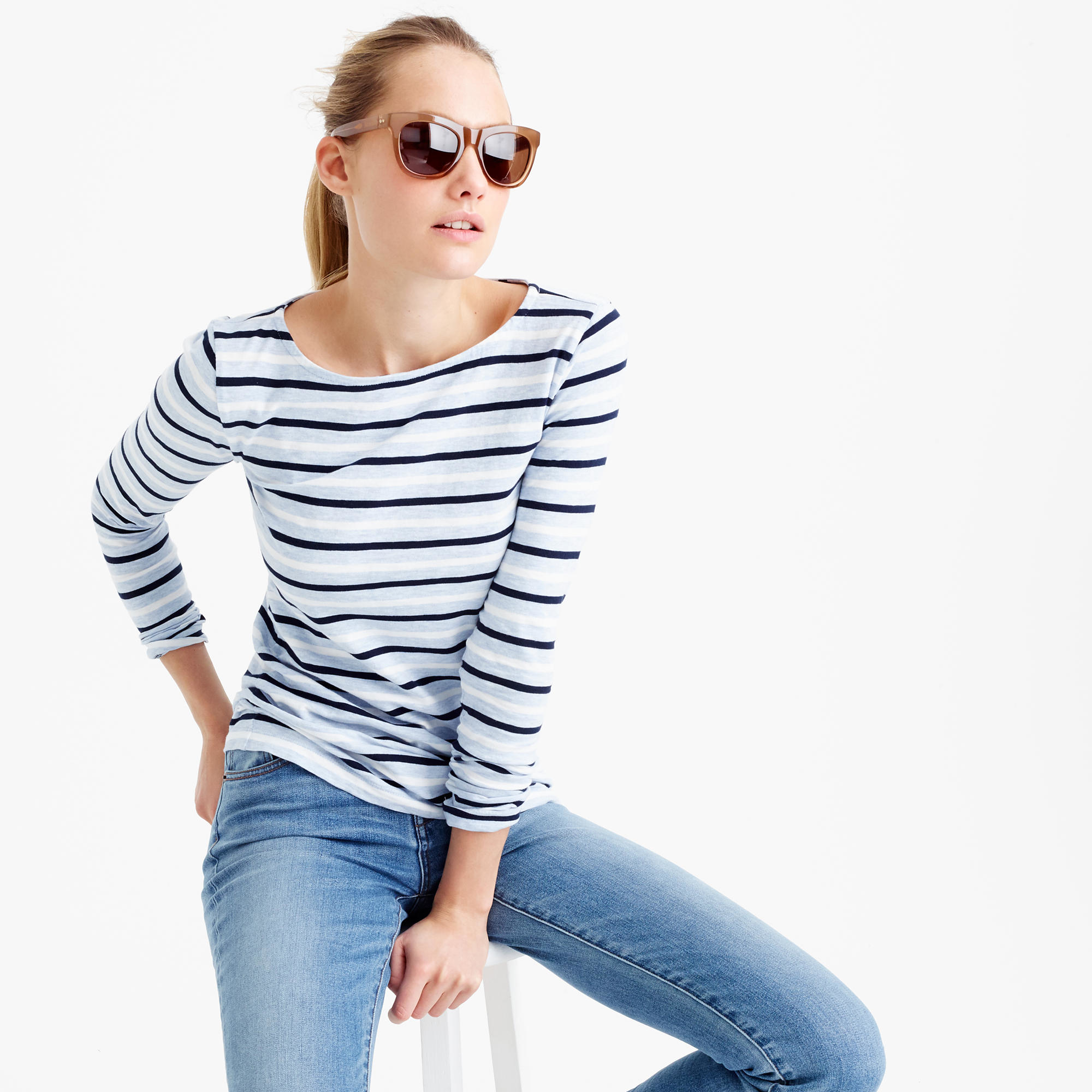 Lyst j crew long sleeve multistripe painter t shirt in blue for Blue and white long sleeve shirt