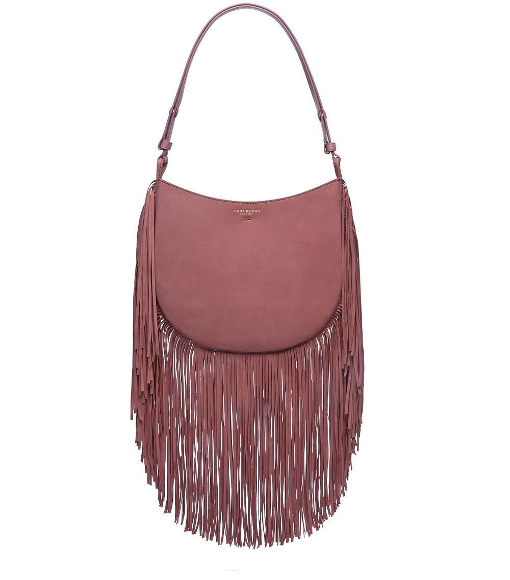 c0472daee26d Lyst - Tory Burch Fringe Hobo in Purple