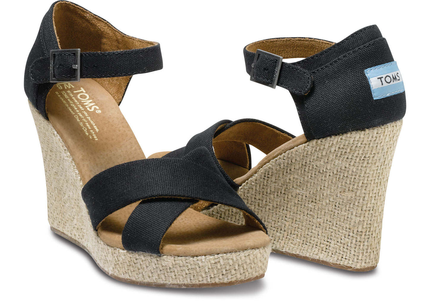 Toms Canvas Strappy Wedge Sandal In Black Lyst