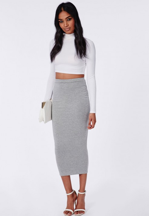 Missguided Longline Jersey Midi Skirt Grey in Gray | Lyst
