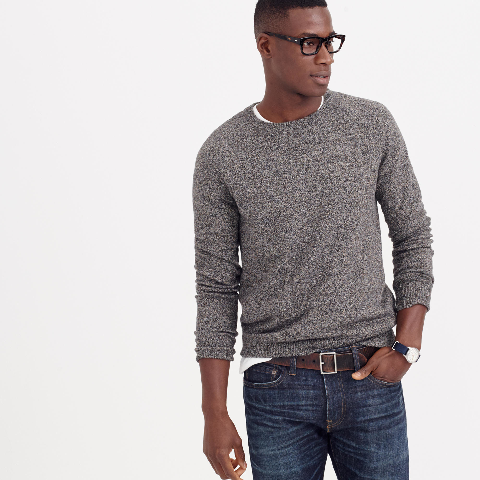 J.crew Marled Cotton Sweater in Gray for Men | Lyst