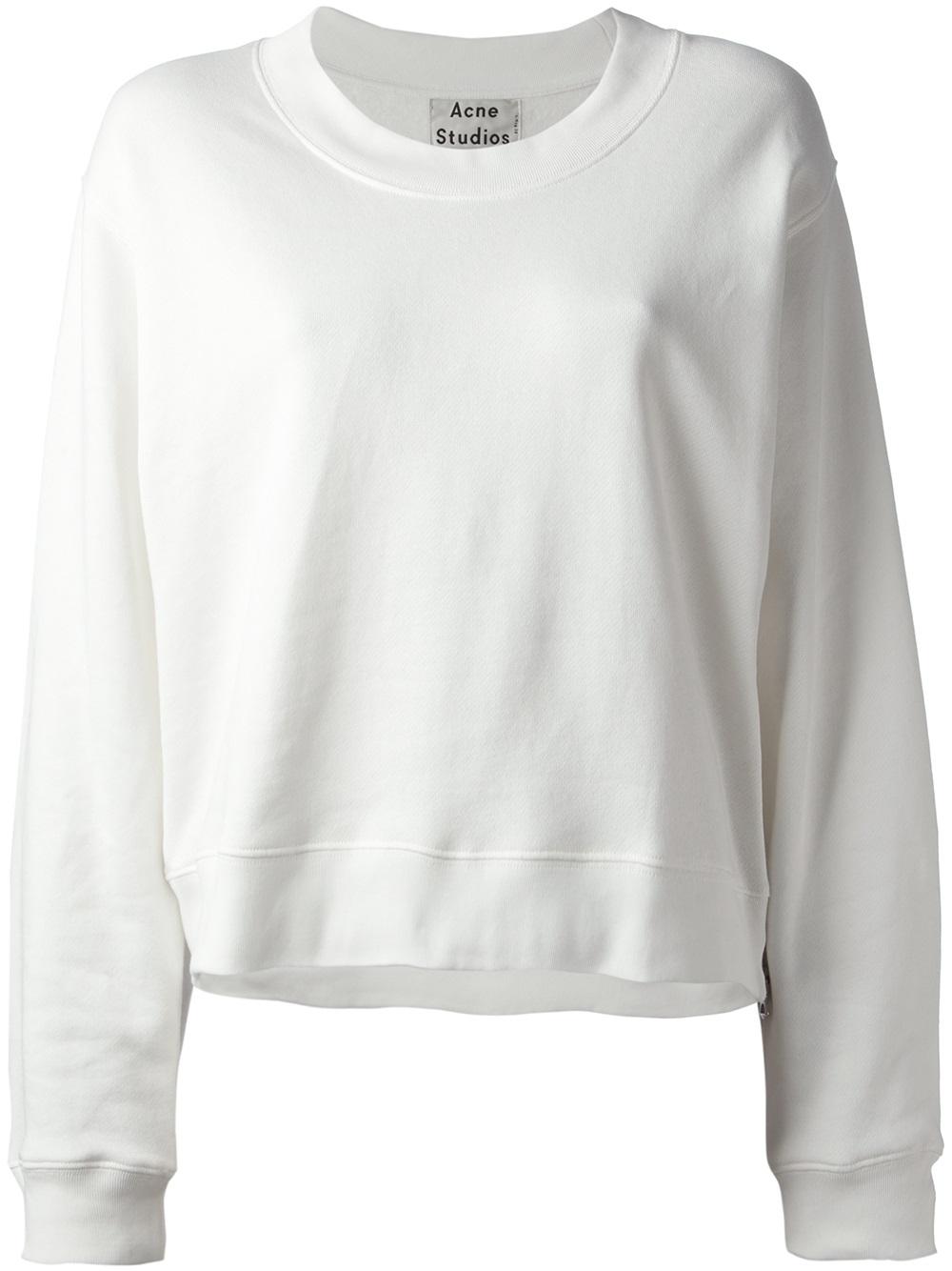 Acne studios Bird Z Fleece Sweatshirt in White | Lyst