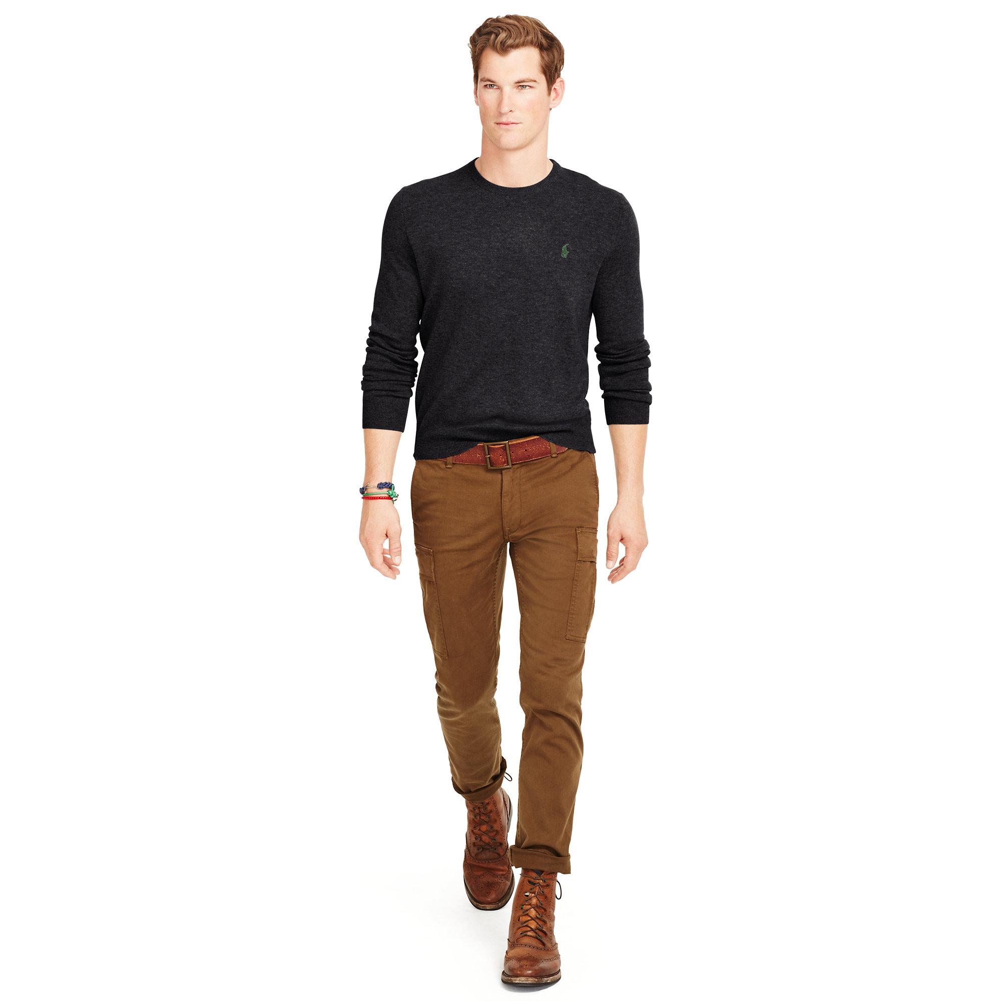 97bdae2dc Lyst - Polo Ralph Lauren Wool Crewneck Sweater in Black for Men