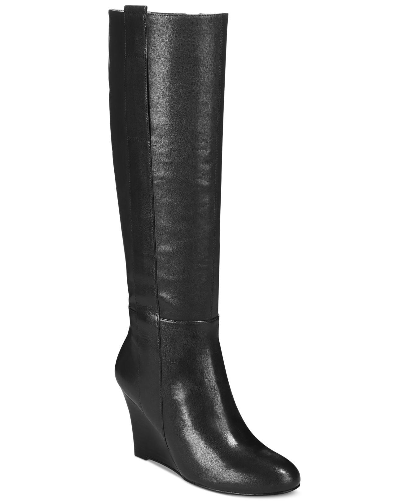 nine west oran wedge boots in black black leather