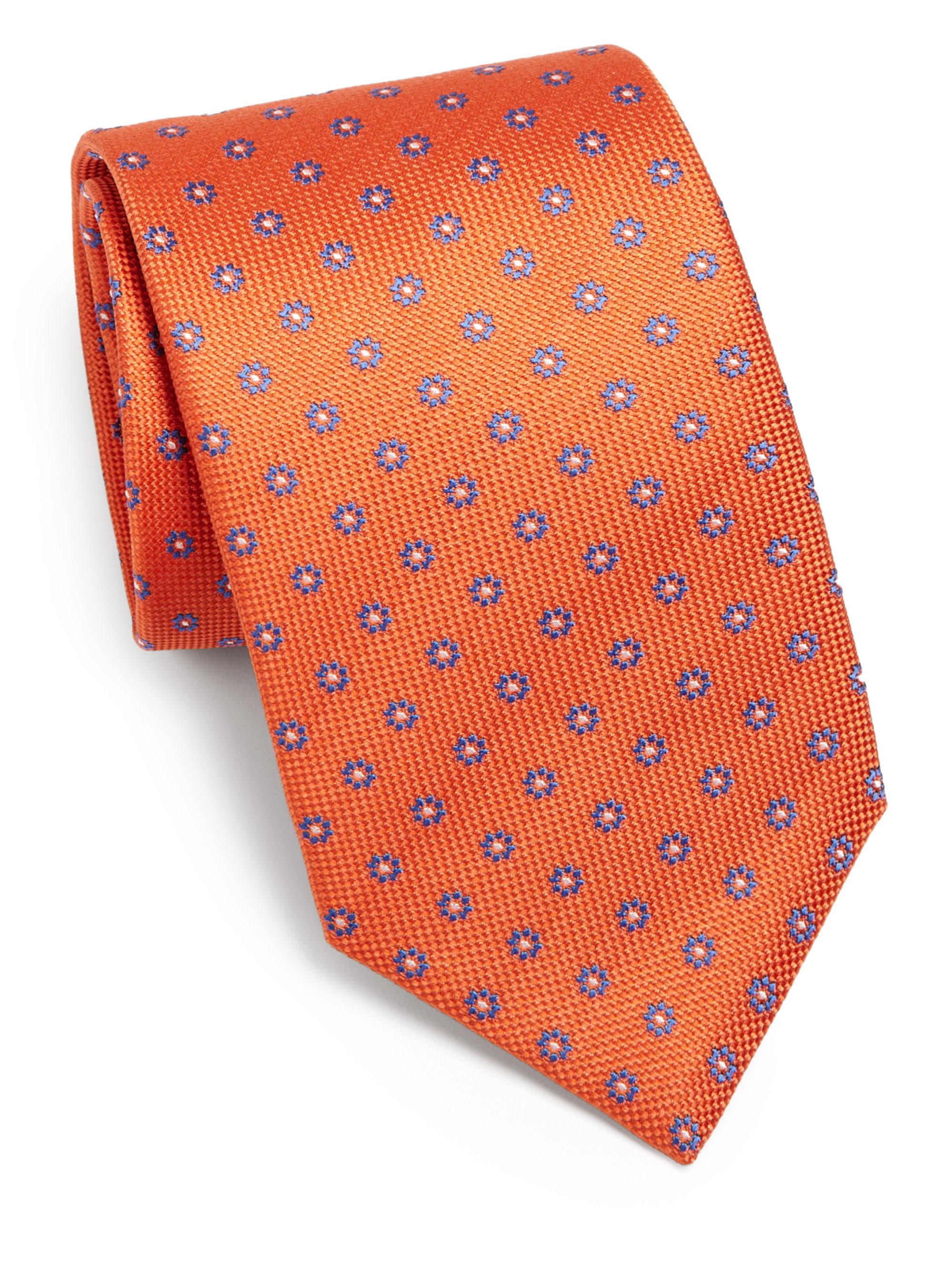 Orange Medallion Silk Tie Eton gEXdP