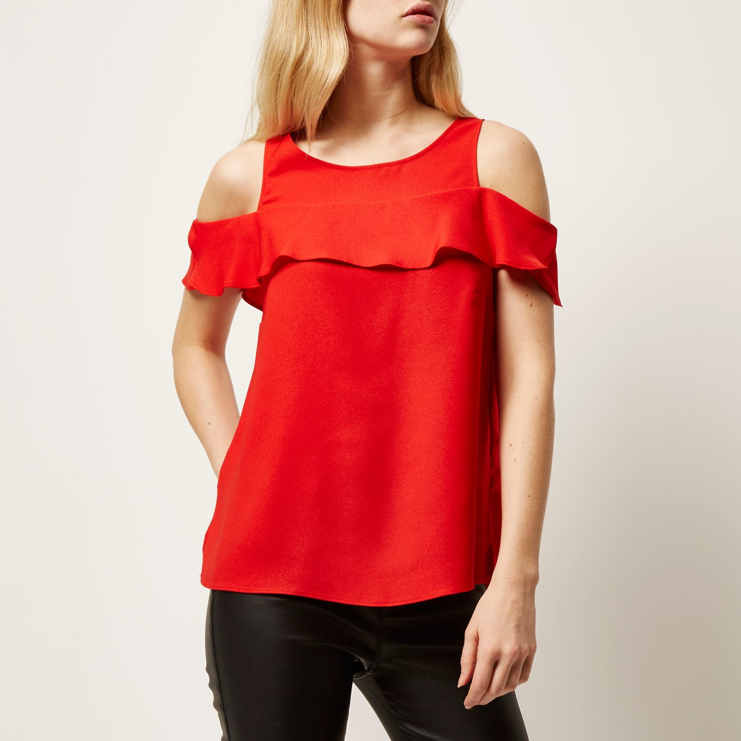 1f58c10229030a River Island Red Frilly Cold Shoulder Top in Red - Lyst