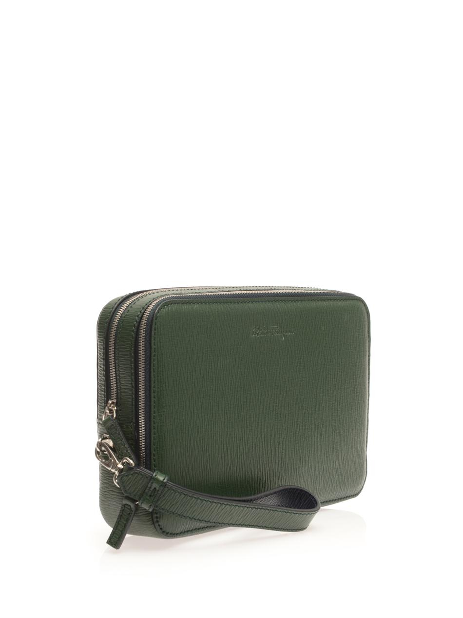 Lyst - Ferragamo Revival Leather Pouch Bag in Green for Men 21cc765324294