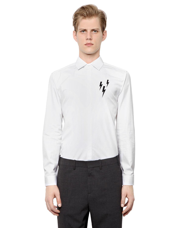 Lyst neil barrett flashes printed cotton poplin shirt in for Neil barrett tuxedo shirt