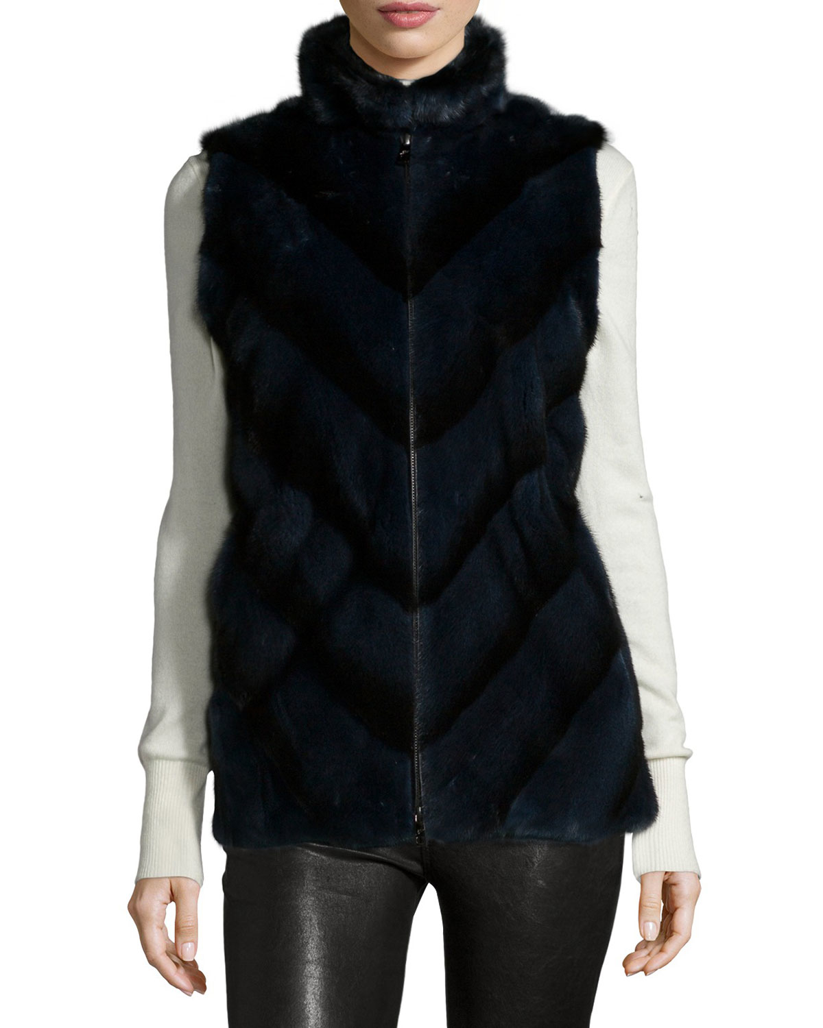 Gorski Mink Fur Chevron Vest In Black Lyst