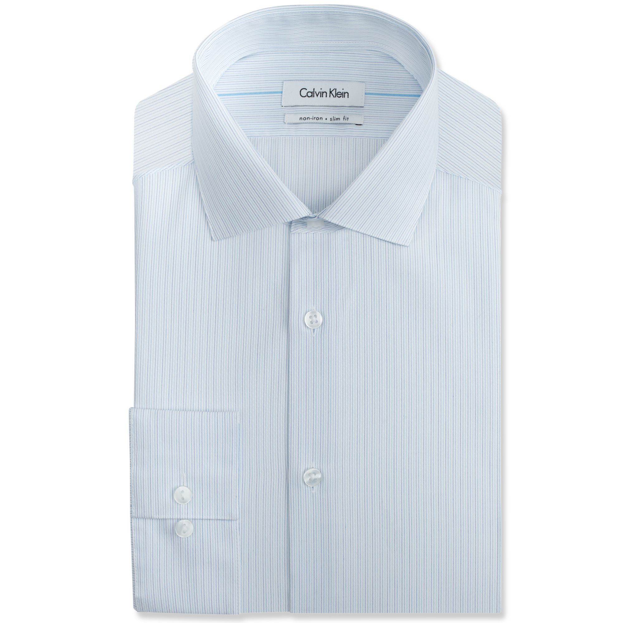 Calvin klein steel no iron white and blue stripe dress for No iron dress shirts for men