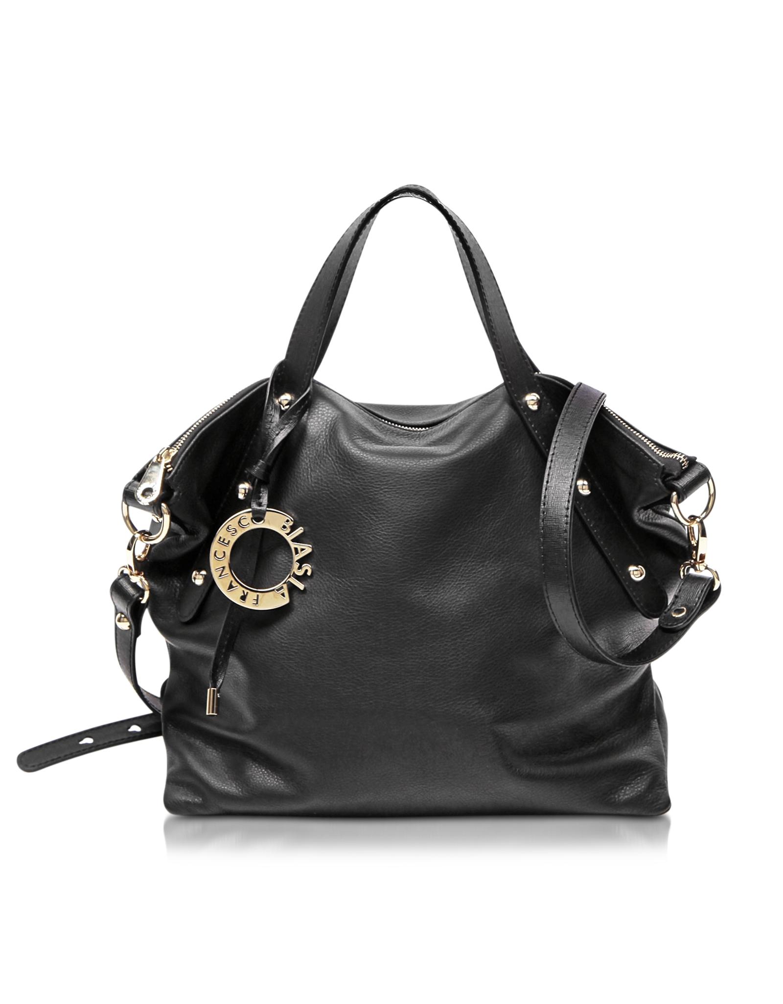 641b330fc030 Francesco Biasia Iris Black Leather Handbag W shoulder Strap in ...