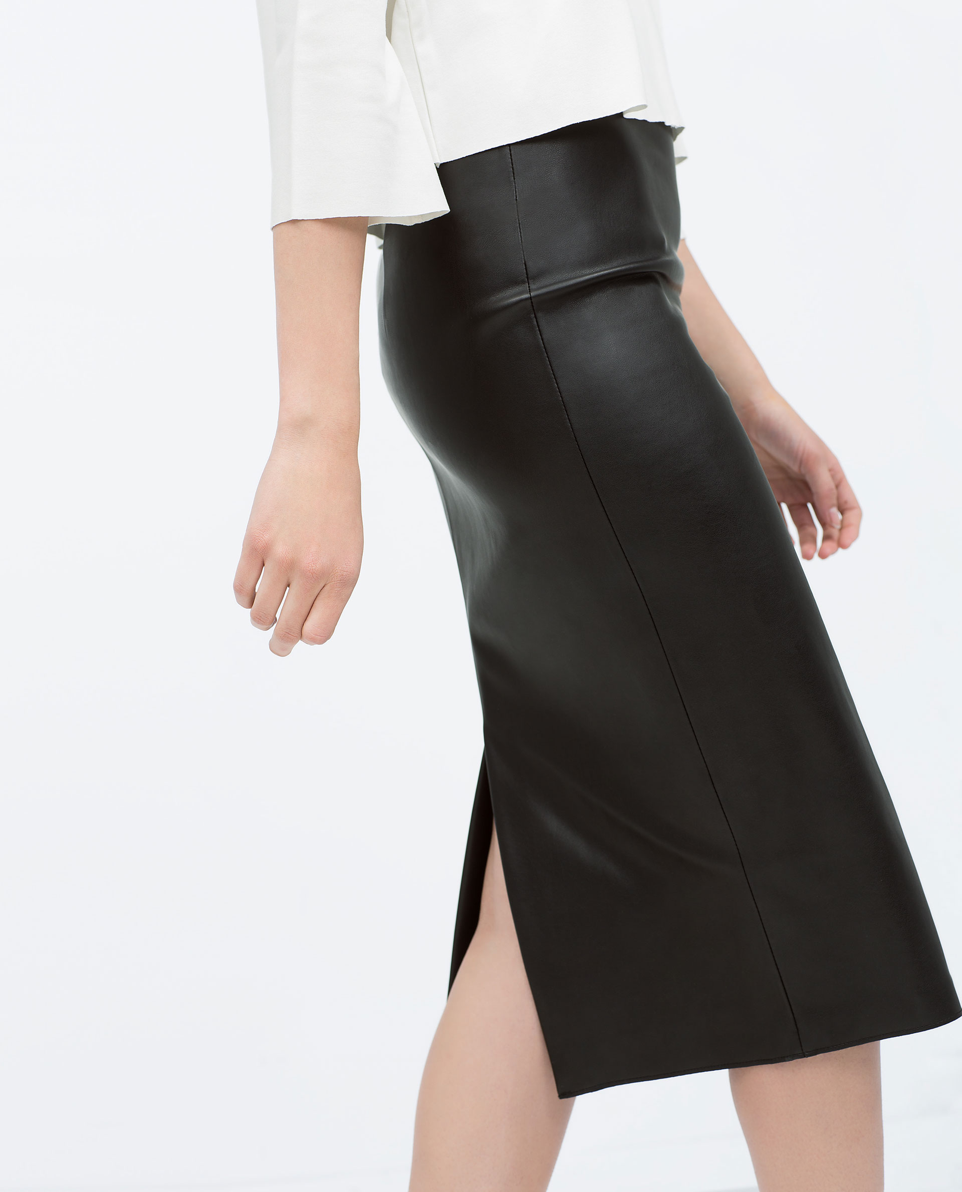 Zara Faux Leather Midi Pencil Skirt Faux Leather Midi Pencil Skirt ...
