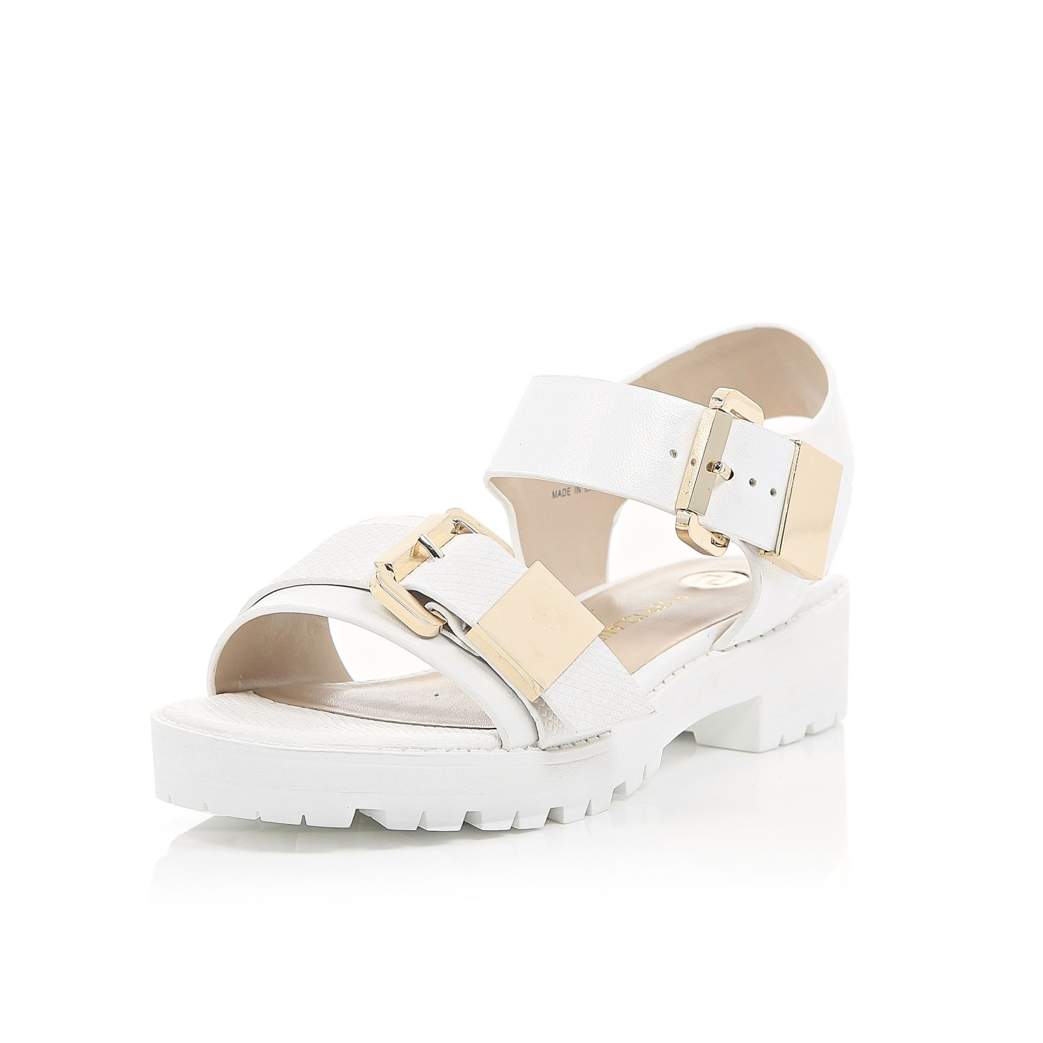 22e443e59bd River Island White Snake Print Chunky Cleated Sandals in White - Lyst
