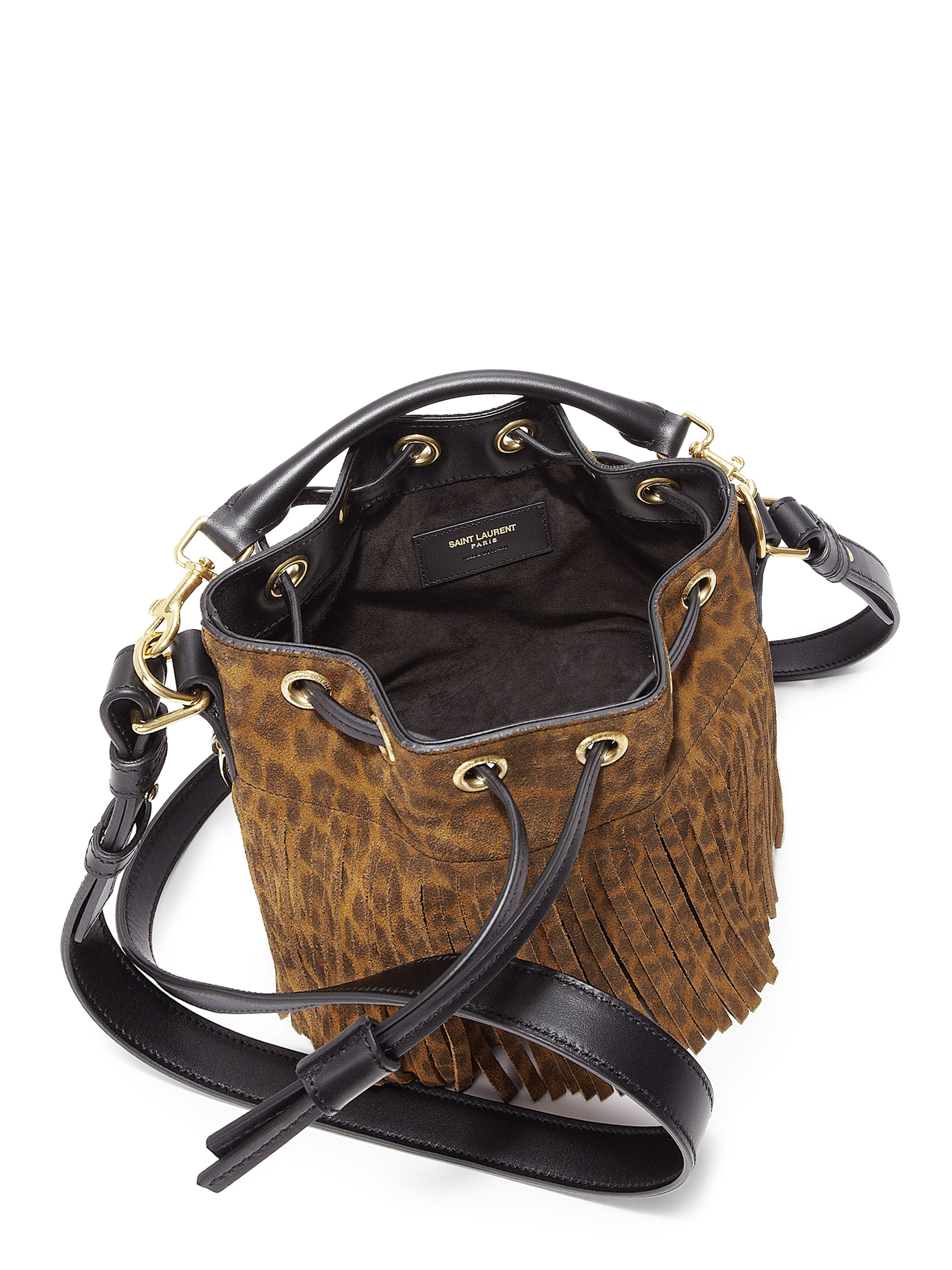7b994b5f12 Saint Laurent Small Leopard-print Suede Fringe Bucket Bag - Lyst