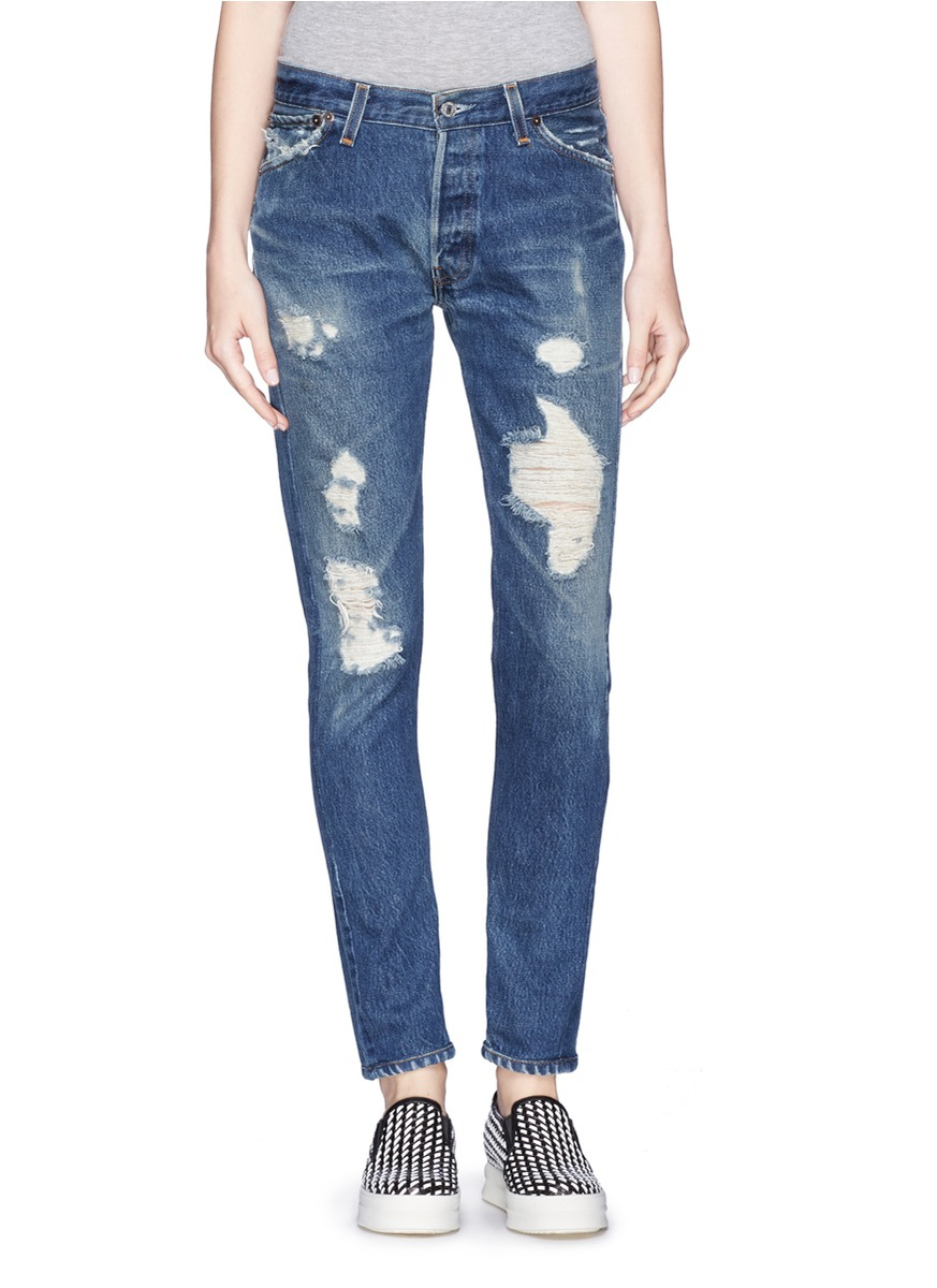 Re/done Straight Skinny Jeans in Blue - Save 71% | Lyst