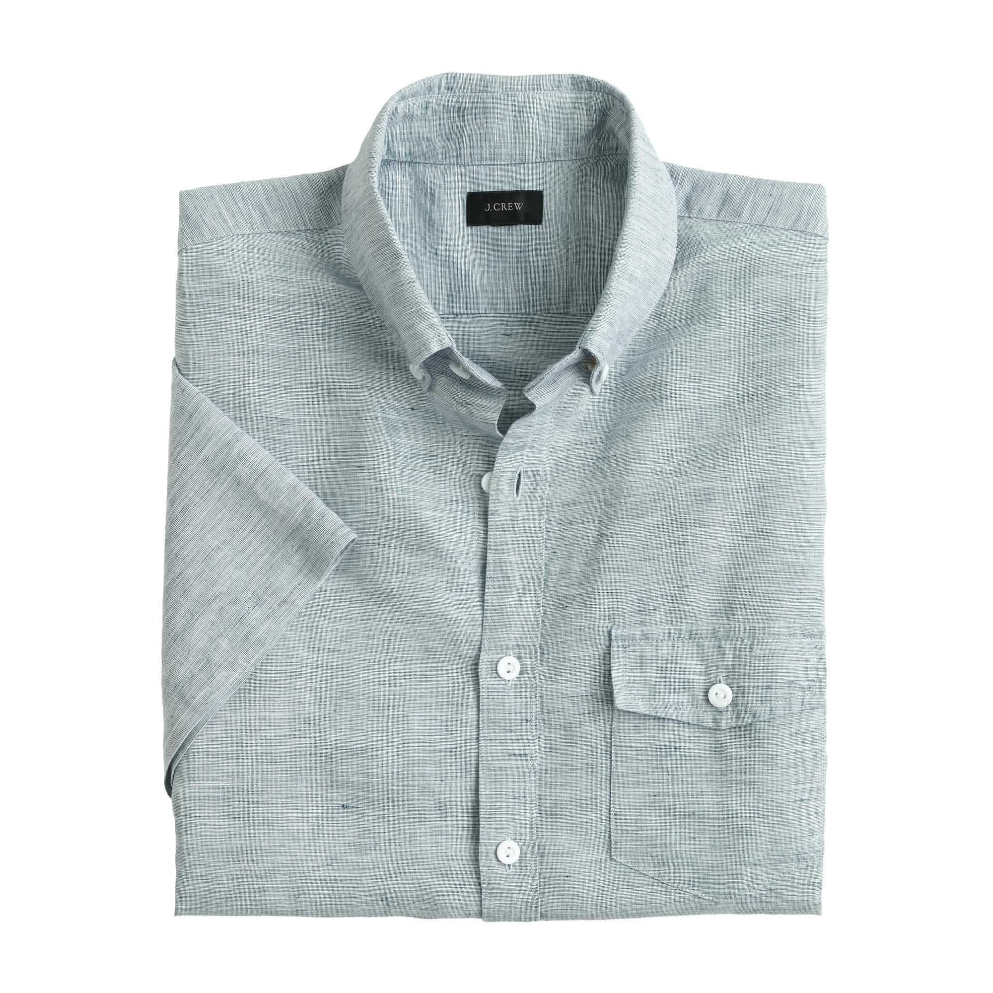 Slim short sleeve shirt in end on end cotton irish for Short sleeve linen shirt
