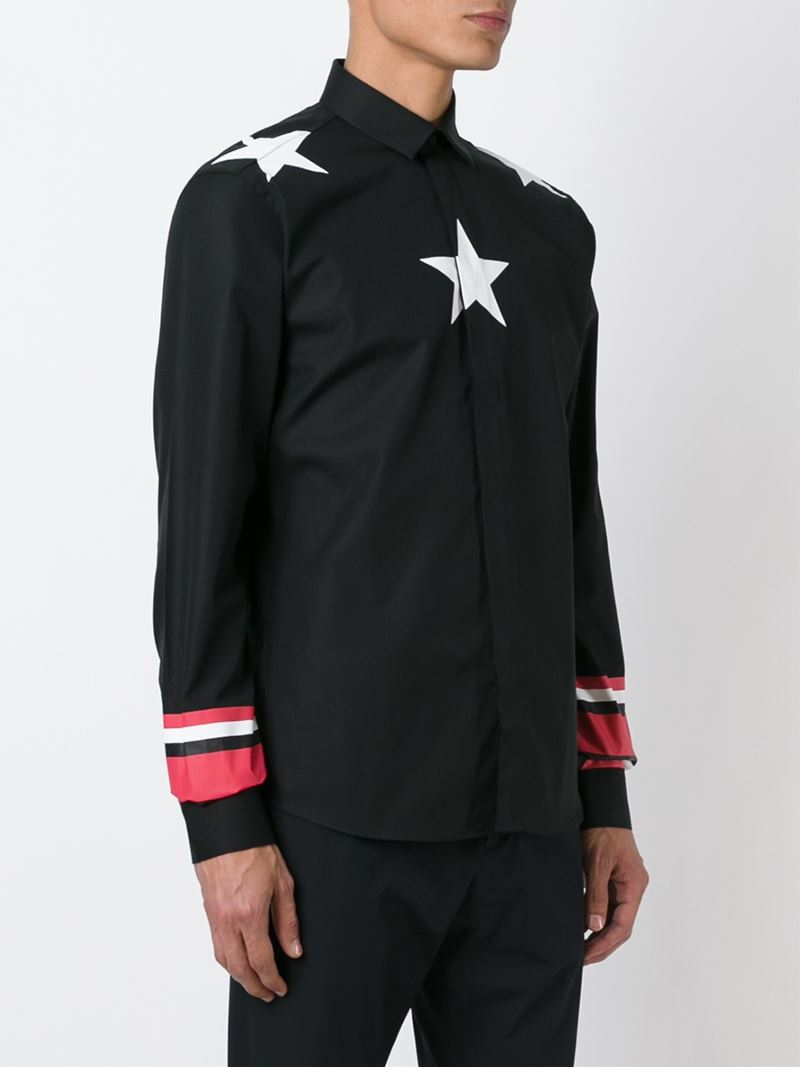 Givenchy star print shirt in black for men lyst for Givenchy 5 star shirt