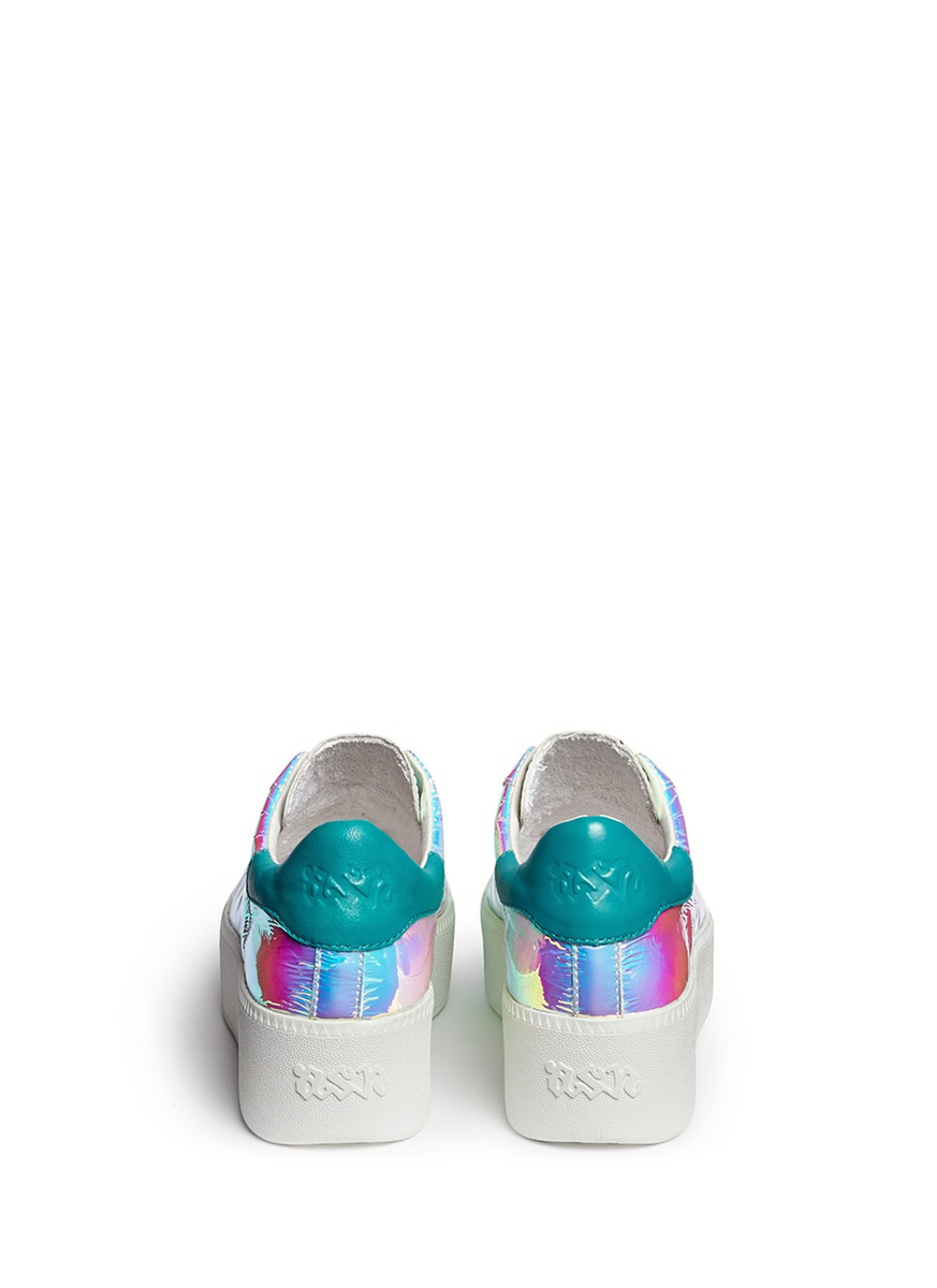 4a61c6a3943 Lyst - Ash  Cult  Holographic Leather Flatform Sneakers