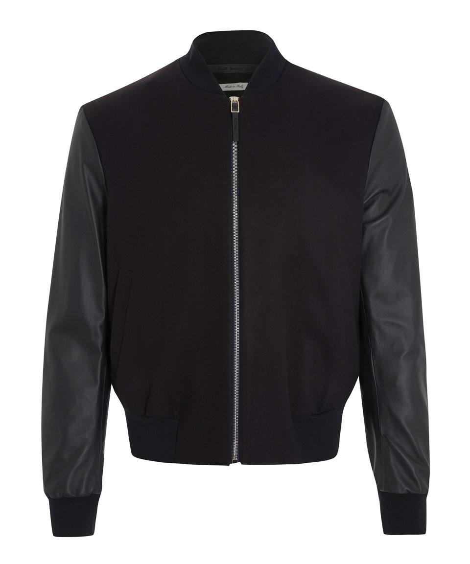 Https Clothing Paul Smith Black Leather Sleeves Bomber Jaket Fleece Silver Misty Jacket Product 0 099339486 Normaljpeg