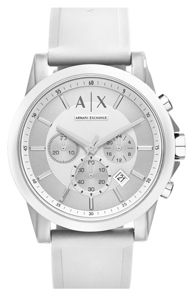 Armani exchange Chronograph Silicone Strap Watch in White ...