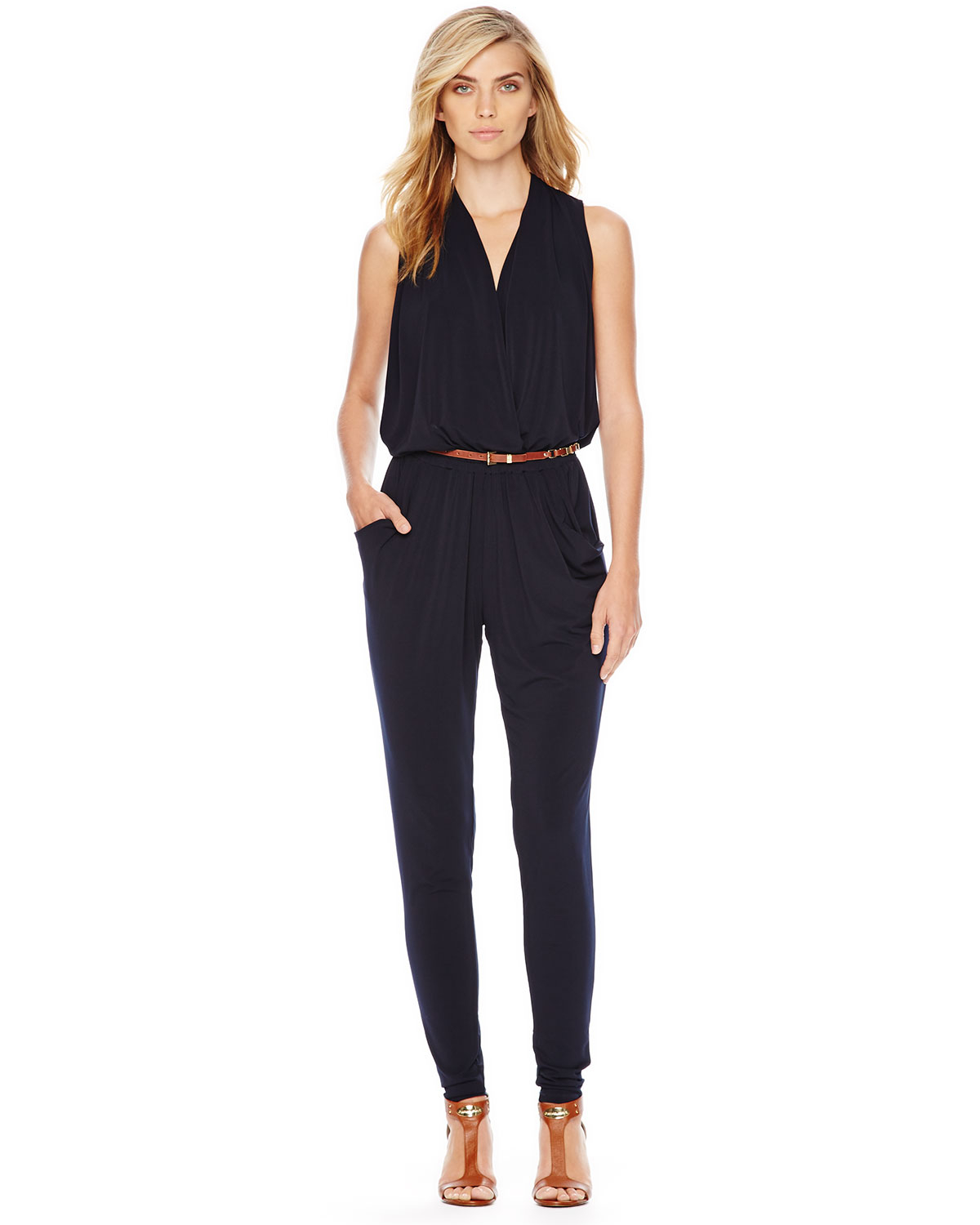 michael michael kors belted sleeveless jersey jumpsuit in blue lyst. Black Bedroom Furniture Sets. Home Design Ideas