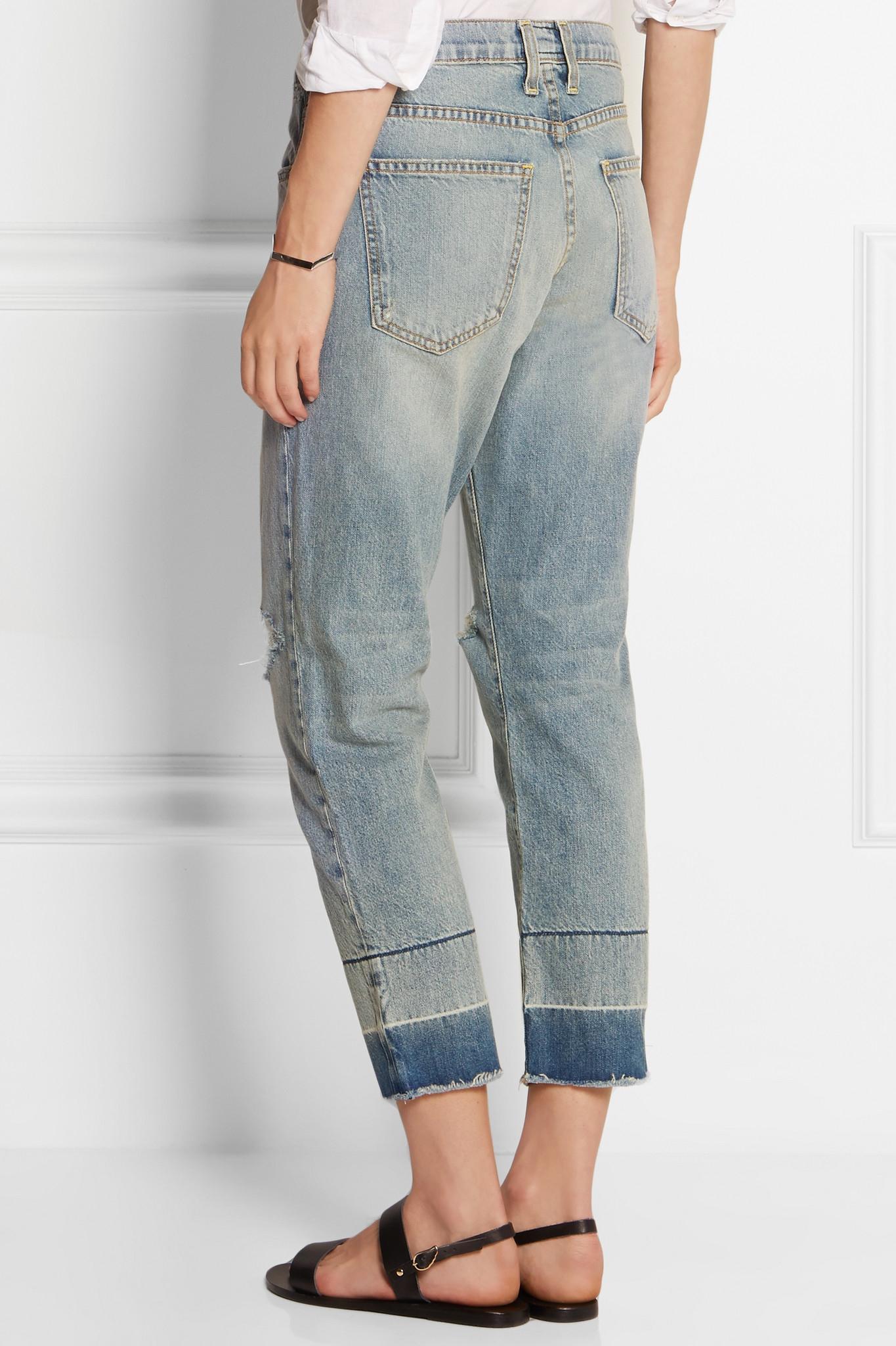 Current/elliott Woman Distressed Boyfriend Jeans Army Green Size 26 Current Elliott Cdqr4vlf
