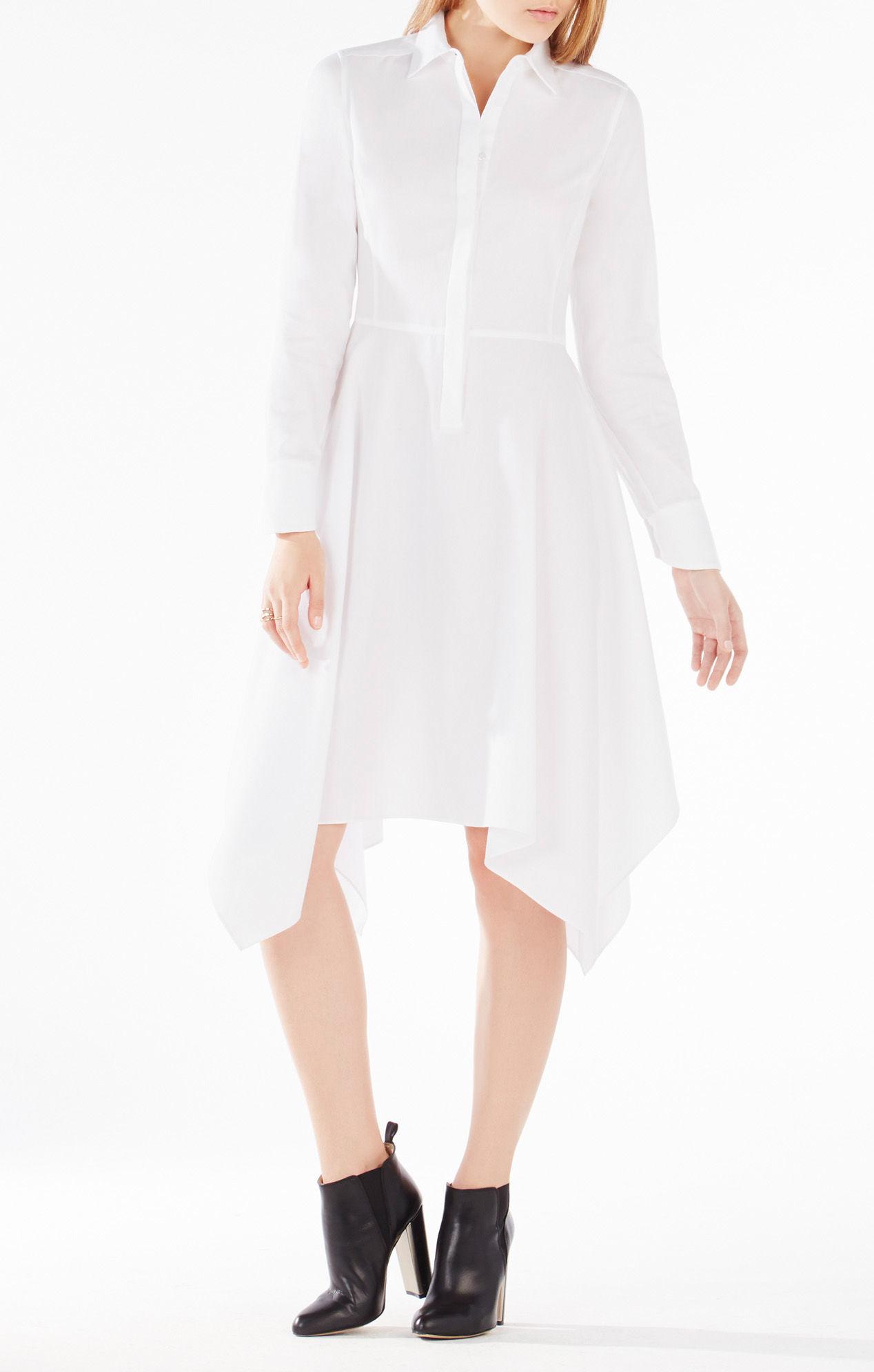 99d590828532 Lyst - BCBGMAXAZRIA Beatryce Handkerchief-hem Shirt Dress in White