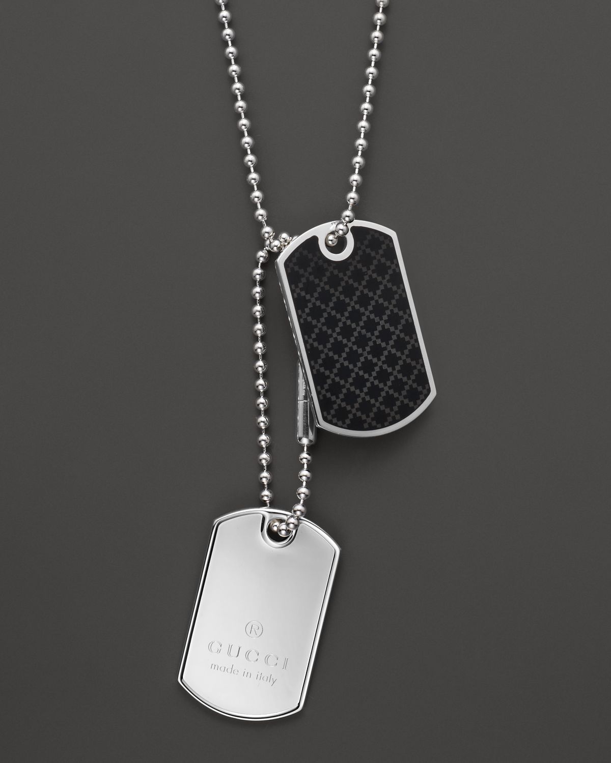 gucci dog tag necklace 236 in metallic for men lyst