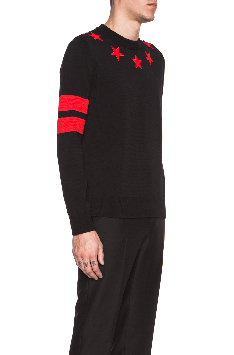 Givenchy Men'S Roundneck Cotton Sweater With Red Star And Stripe ...