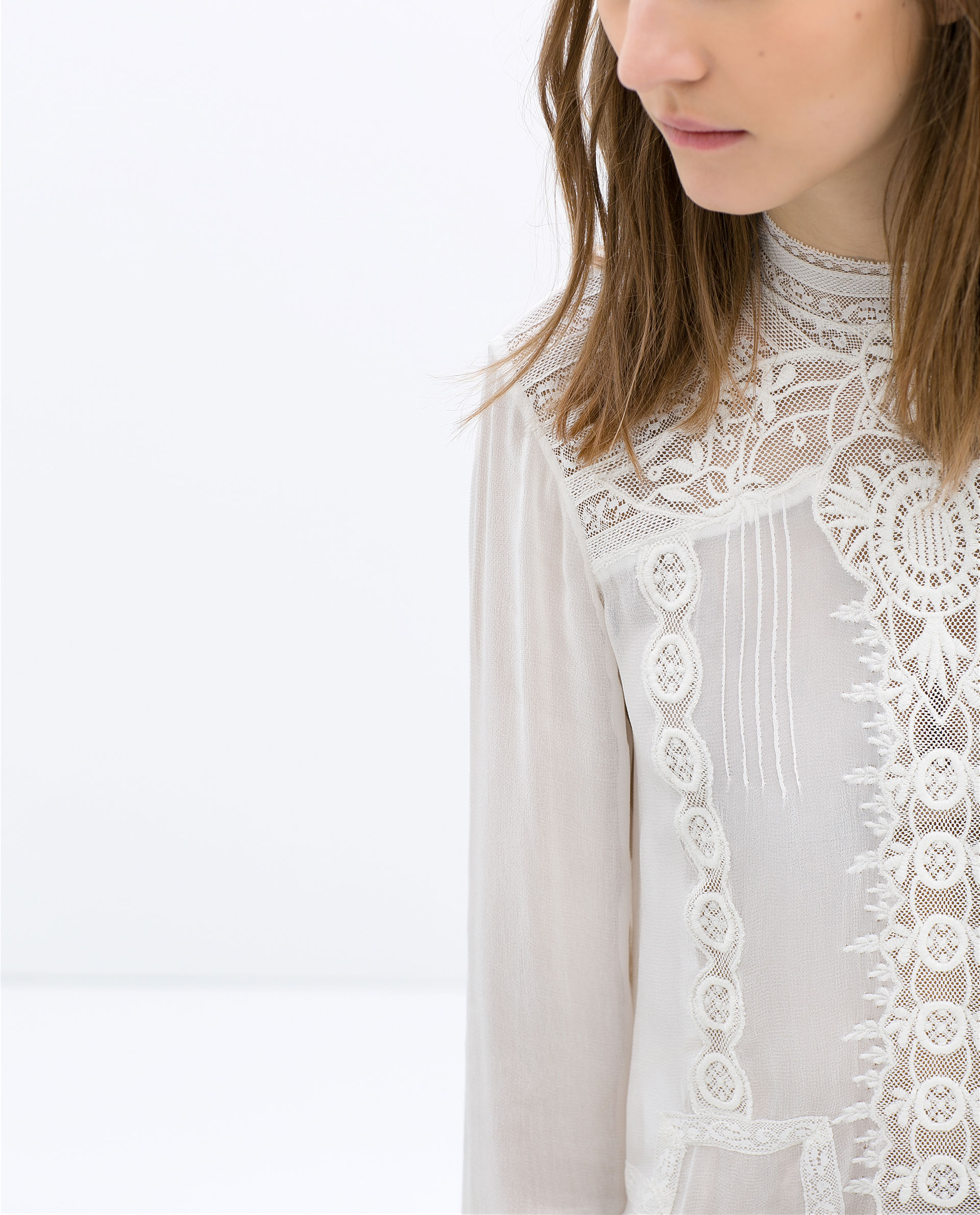 White Lace High Neck Blouse