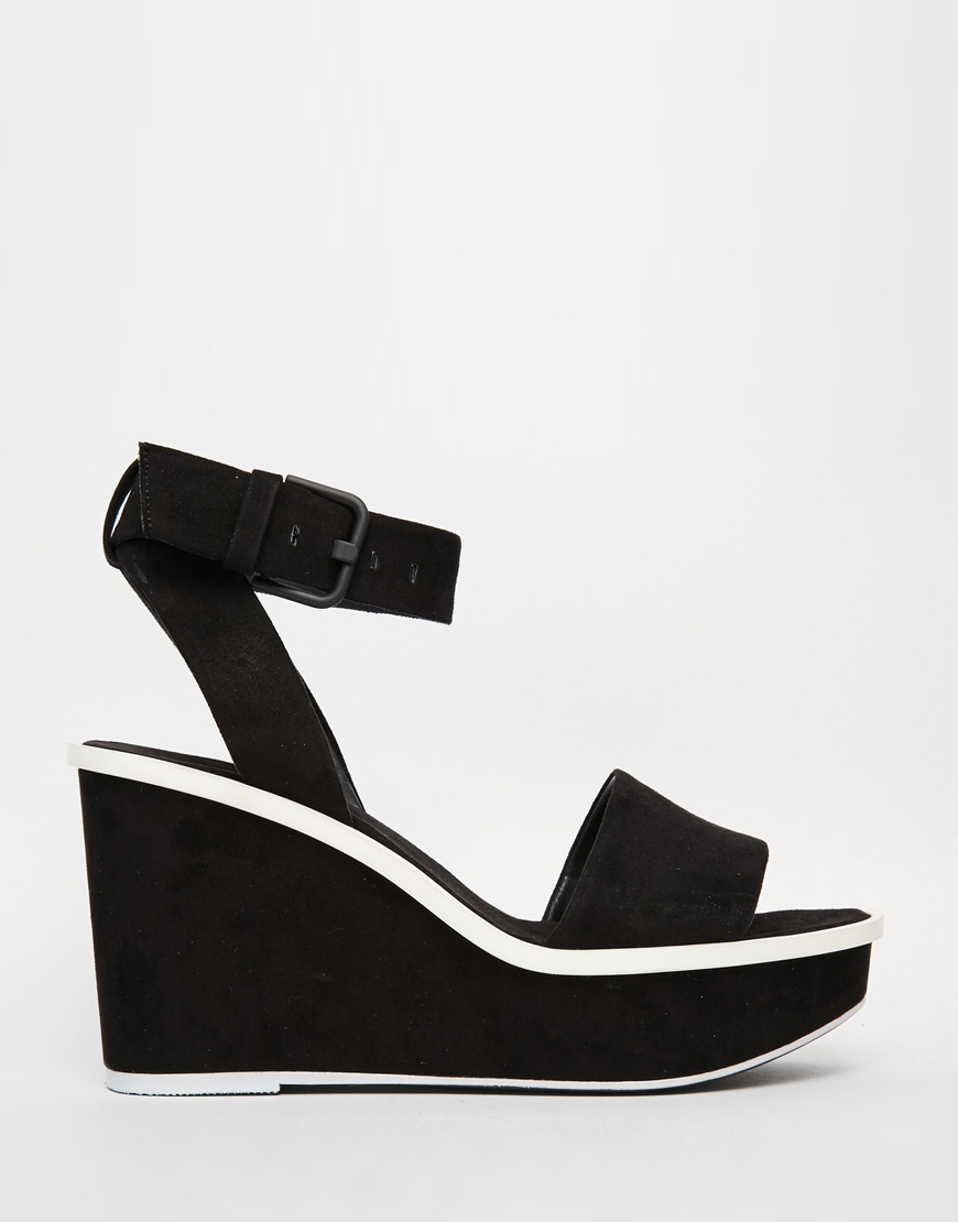 Lyst - ALDO Ldo Maygan Black Wedge Sandals in Black