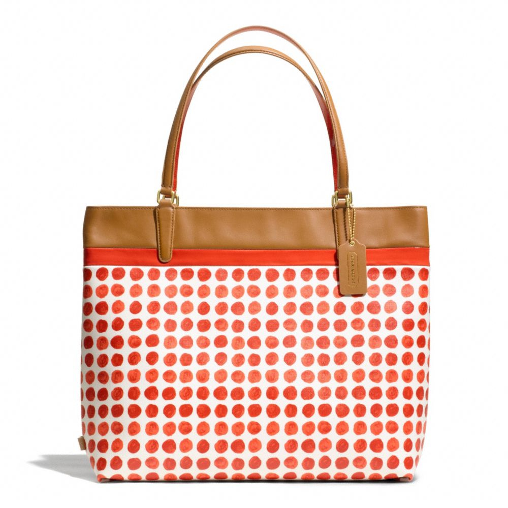 Lyst Coach Tote In Painted Dot Coated Canvas In Red