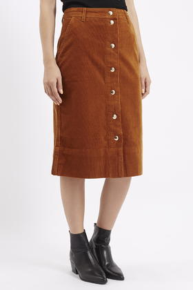 6142f188ea TOPSHOP Tall Cord Button Front Midi Skirt in Brown - Lyst